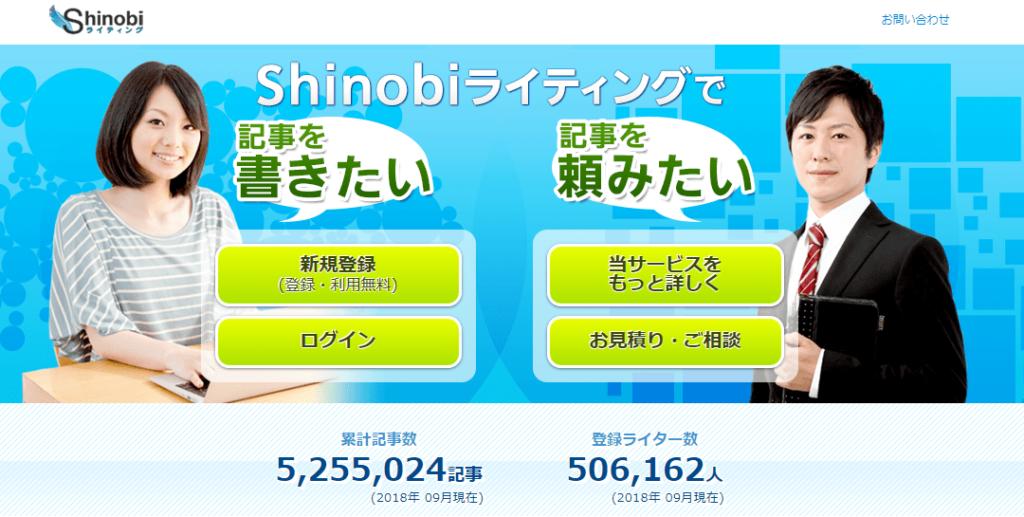 WEBライターにおすすめのクラウドソーシングサイト Shinobiライティング